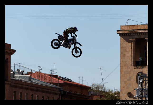 Yerevan - flying motorcycle above Republic square